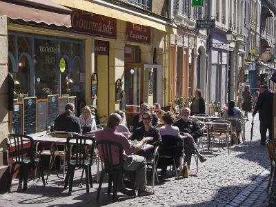 Terrace Tables Outside the Many Cafes and Restaurants on Rue De Lille in Old Quarter of Boulogne-Hazel Stuart-Photographic Print