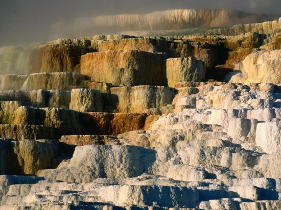 Terraced Travertine Formations at Minerva Terrace, Mammoth Hot Springs,  Yellowstone National Park Photographic Print by John Elk III | Art com