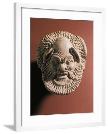 Terracotta Antefix Depicting Satyr, from Gela, Sicily, Italy--Framed Giclee Print