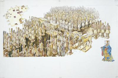 Terracotta Army in the Tomb of Emperor Qin Shi Huang--Giclee Print