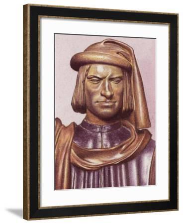 Terracotta Bust of Lorenzo De Medici by Artist Andrea Verrocchio-Pat Nicolle-Framed Giclee Print