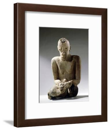Terracotta figure of a man excavated in the Djenne/Mopti area, Mali, 13th or 14th century-Werner Forman-Framed Photographic Print