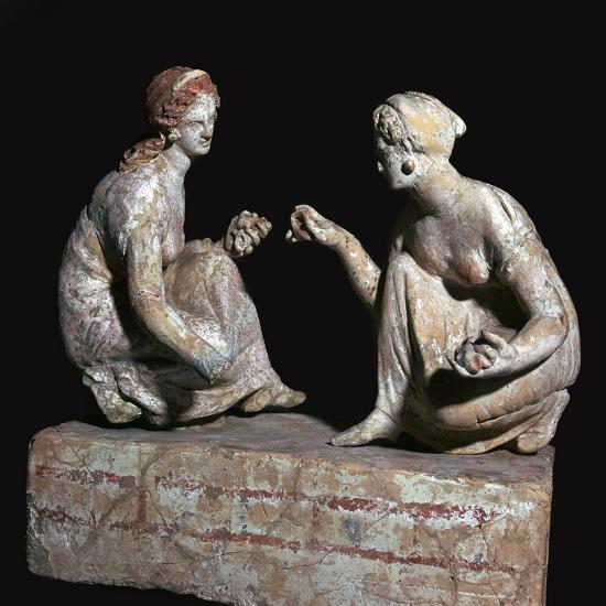 Terracotta group of 'knucklebone' (astragalos) players, Hellenistic Greek, c330-c300 BC-Unknown-Giclee Print