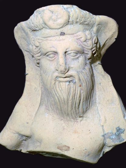Terracotta head of Dionysus from a sanctuary. Artist: Unknown-Unknown-Photographic Print