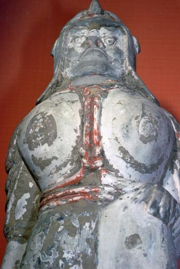 Terracotta painted soldier from the six dynasties period, China. Artist: Unknown-Unknown-Giclee Print
