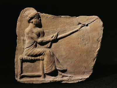 Terracotta Plaquette Figurine Depicting Woman Weaving--Giclee Print