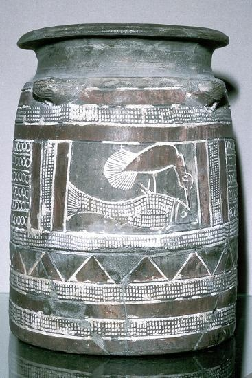 Terracotta pot with motif of bird eating a fish, Susa, c2000-c1940 BC. Artist: Unknown-Unknown-Giclee Print