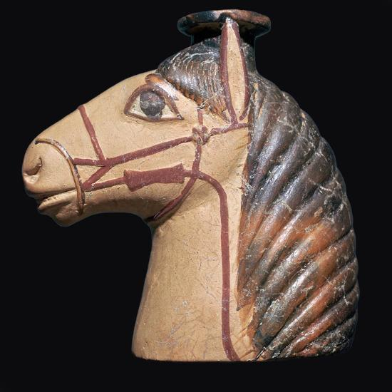 Terracotta scent bottle in the shape of a horse's head-Unknown-Giclee Print
