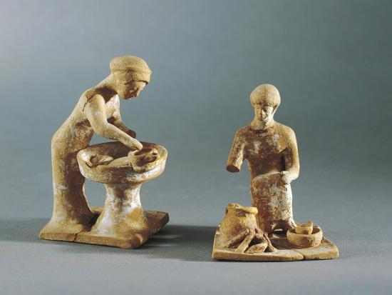 Terracotta Statuettes Depicting Daily Life Scenes, from Tanagra, Greece--Giclee Print
