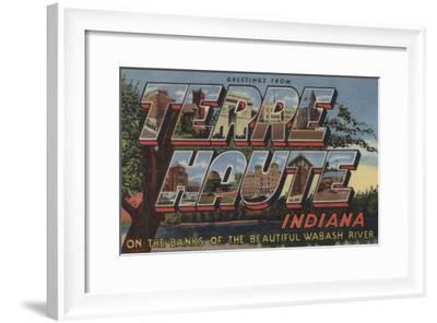 Terre Haute, Indiana - Wabash River-Lantern Press-Framed Art Print