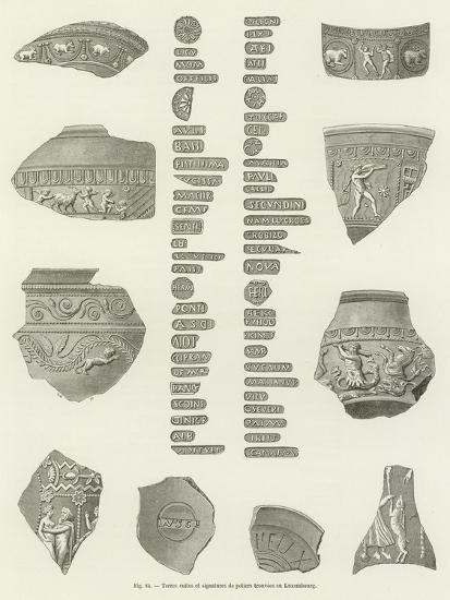 Terres Cuites Et Signatures De Potiers Trouvees Au Luxembourg--Giclee Print