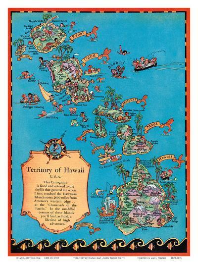 Territory of Hawaii Map-Ruth Taylor White-Art Print