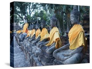 Ayutthaya Wat Yai Chai Mongkol Row of Buddha Statues by Terry Eggers