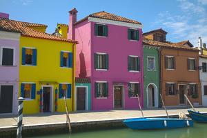 Bright Colored Homes Along Canal, Burano, Italy by Terry Eggers