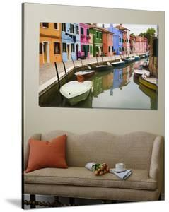 Colorful Burano City Homes Reflecting in the Canal, Italy by Terry Eggers