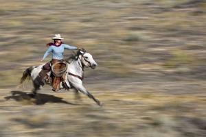 Cowgirl Riding at Full Speed in Motion by Terry Eggers