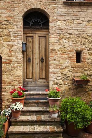 Doorway with Flowers, Pienza, Tuscany, Italy