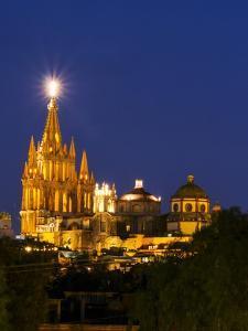 Evening Lights Parroquia Archangel Church San Miguel De Allende, Mexico by Terry Eggers