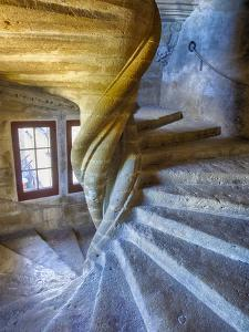 France, Provence, Lourmarin, Spiral Staircase in Chateau De Lourmarin by Terry Eggers