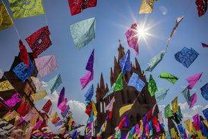 Mexico, San Miguel de Allende, Flags flying for the Day of the Dead celebration by Terry Eggers