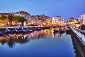 Portugal, Aveiro, Moliceiro Boats Along the Main Canal of Aveiro by Terry Eggers