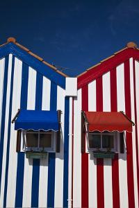 Portugal, Costa Nova, Candy-Striped Homes Lining the Street by Terry Eggers