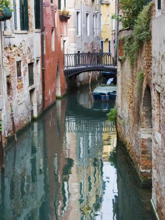 Reflections and Small Bridge of Canal of Venice, Italy by Terry Eggers