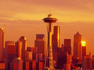 Seattle Skyline and Space Needle, Washington, USA by Terry Eggers