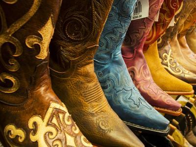 USA, Arizona, Old Scottsdale, Line Up of New Cowboy Boots