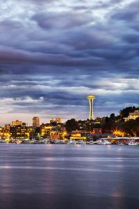 USA, Washington State, Seattle, Evening light with the Space Needle by Terry Eggers