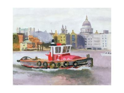 Red Tug passing St. Pauls, 1996
