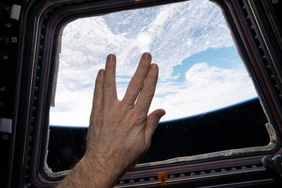 Astronaut Gives the Vulcan Salute in Honor of the Late Star Trek Actor Leonard Nimoy