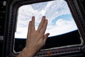 Astronaut Gives the Vulcan Salute in Honor of the Late Star Trek Actor Leonard Nimoy by Terry Virts