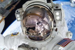Astronaut Takes a Spacewalk Selfie before Coming Back Inside the Iss by Terry Virts