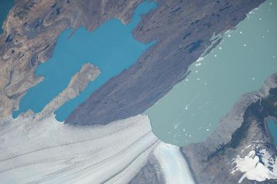 Iss View of Turquoise Blue and Deep Green Waters at the Upsala Glacier