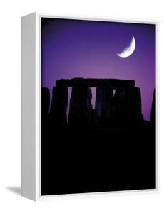 Crescent Moon Over Stonehenge, England by Terry Why