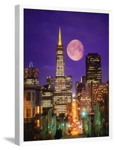 Moon Over Transamerica Building, San Francisco, CA by Terry Why