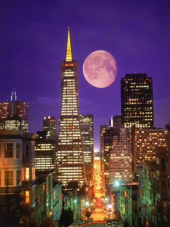 Moon Over Transamerica Building, San Francisco, CA