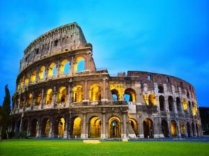 The Colosseum in Rome at Night by Terry Why