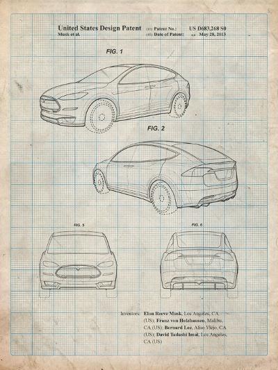 Tesla Model S-Cole Borders-Art Print