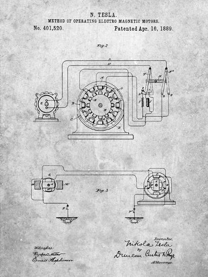 Tesla Operating Electric Motors Map-Cole Borders-Art Print