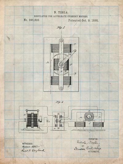 Tesla Regulator for Alternate Current Motor Patent-Cole Borders-Art Print