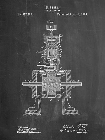 Tesla Steam Engine Patent-Cole Borders-Art Print