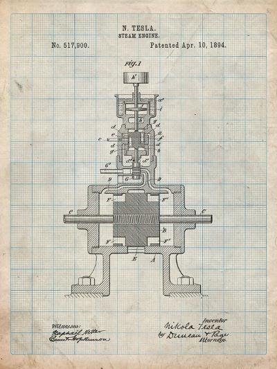 Tesla Steam Engine Patent-Cole Borders-Art Print