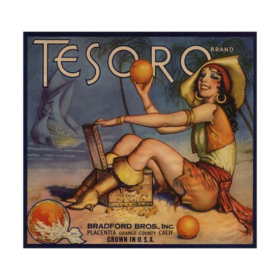 Tesoro Brand - Placentia, California - Citrus Crate Label-Lantern Press-Art Print