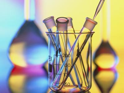 Test Tubes In Beaker with Pipette And Flasks-Tek Image-Photographic Print