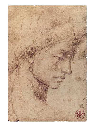 Testa Femminile di Profilo-Michelangelo Buonarroti-Premium Giclee Print