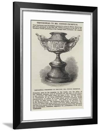 Testimonial Presented to the Honourable Mr Justice Crompton--Framed Giclee Print