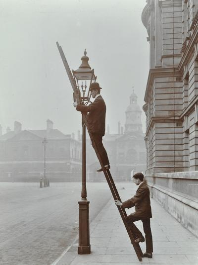 Testing Gas Pressure in Street Lighting, Westminster, London, 1910--Photographic Print