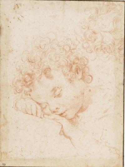 Tête d'enfant dormant et détail de chevelure bouclée-Carlo Dolci-Giclee Print